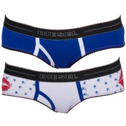 2PACK Dámské Kalhotky Diesel Mutande Oxy Kiss Blue White