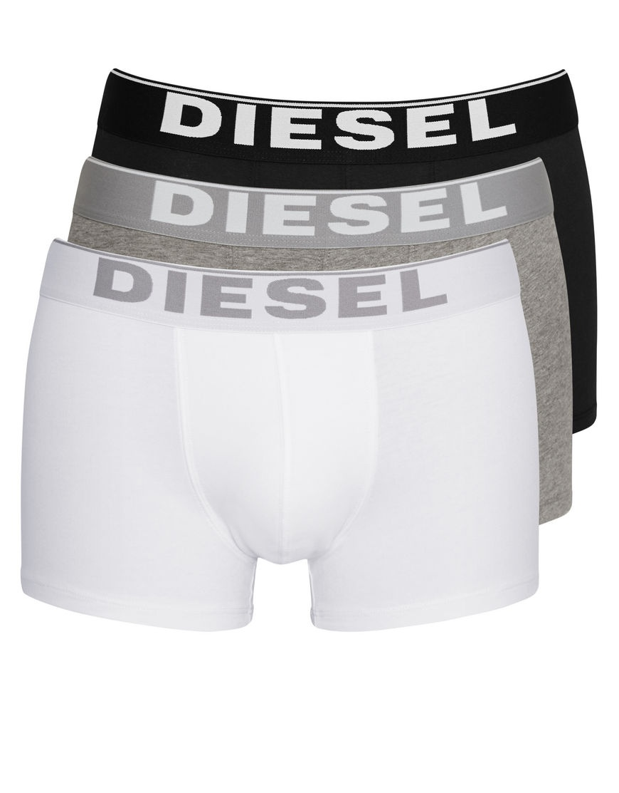 3PACK Boxerky Diesel Black / White / Grey Essential