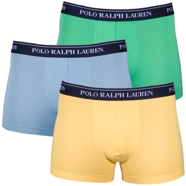 3PACK pánské boxerky Ralph Lauren modré žluté zelené