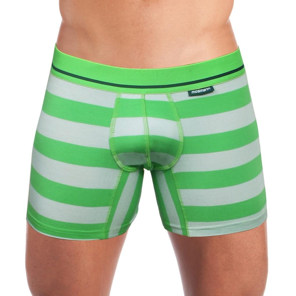 Pánské Boxerky Mosmann Australia Boxer Kelly Luxe Grey/Green Striped L