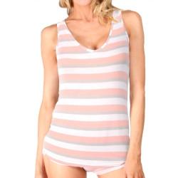 Dámské Tílko Mosmann Australia Tess Tank Peach Stripe