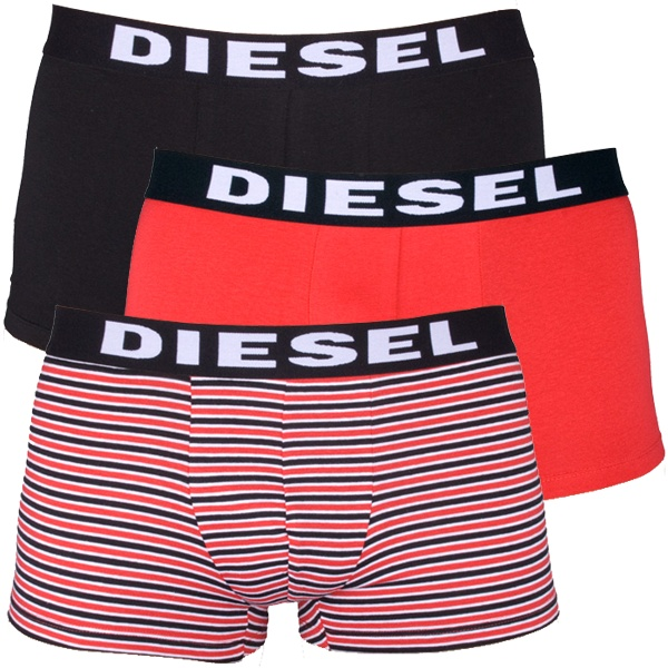 3Pack Diesel Boxerky Shawn Boxers Red Black Stripes S