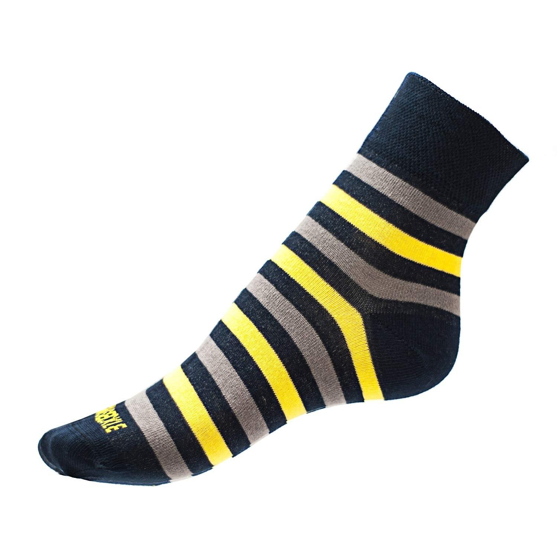 Ponožky Phuseckle classicline modro žluté pruhy L
