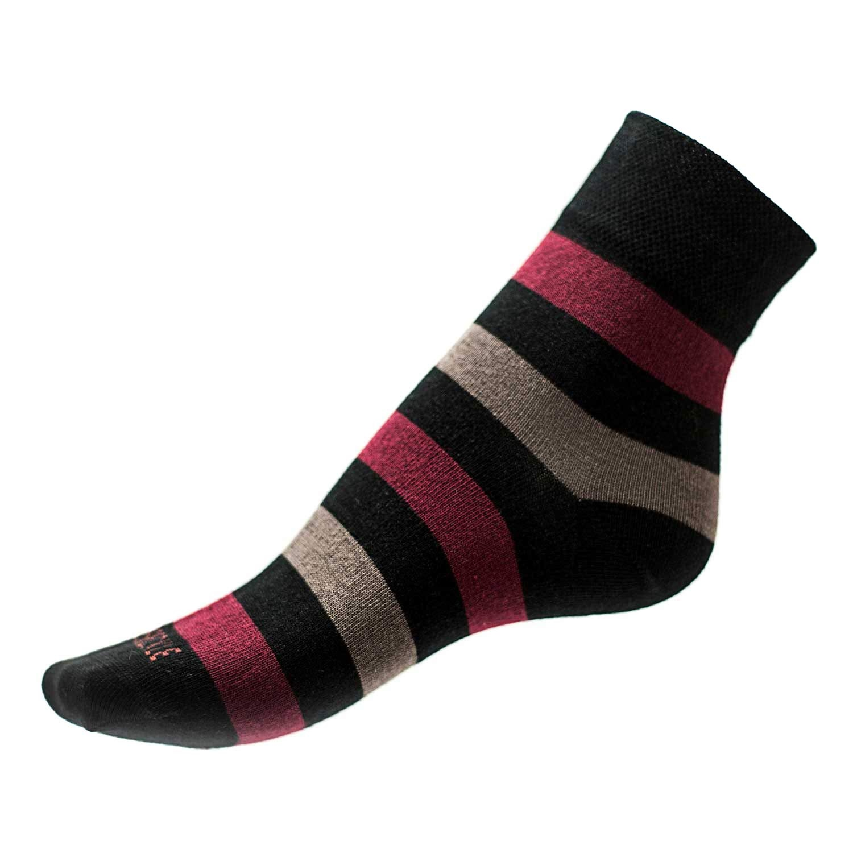 Ponožky Phuseckle classicline vínovo šedé pruhy L