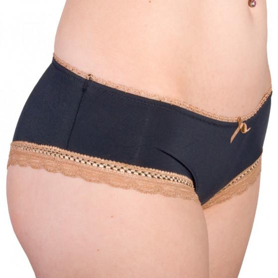 Dámské Kalhotky Molvy černé s hnědou krajkou (MD-745-FPU)