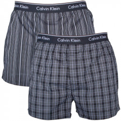 2PACK Pánské Trenýrky Calvin Klein Boxers Classic Fit Black Stripes Plaid