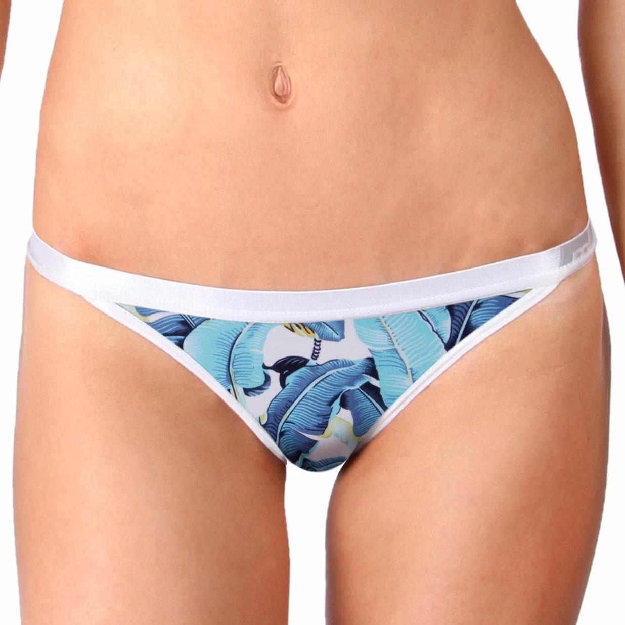 Dámské Kalhotky Mosmann Australia Blue Congo String Bikini Blue Leaf Print