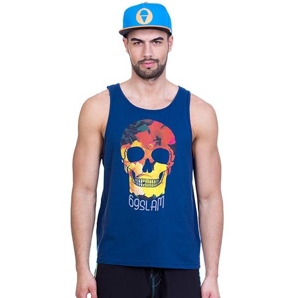Pánské tílko 69SLAM Hibiscus Skull Blue L