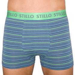 Pánské boxerky Stillo šedé se zelenými proužky (STP-010)
