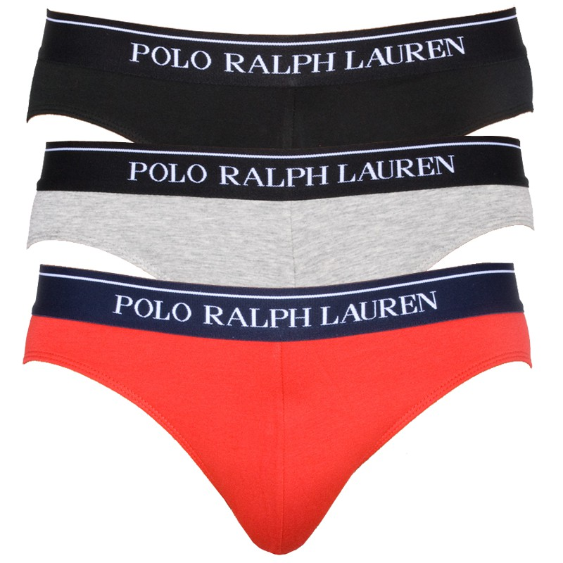 3PACK Pánské Slipy Polo Ralph Lauren Black Red Grey