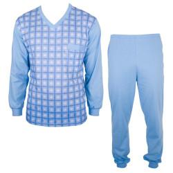 Pánské Dlouhé Pyžamo Foltýn Světle Modrá Kostka