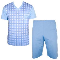 Pánské Krátké Pyžamo Foltýn Světle Modrá Kostka