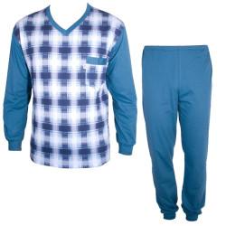 Pánské Dlouhé Pyžamo Foltýn Modrá Kostka
