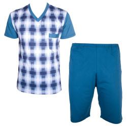 Pánské Krátké Pyžamo Foltýn Tmavě Modré Proužky