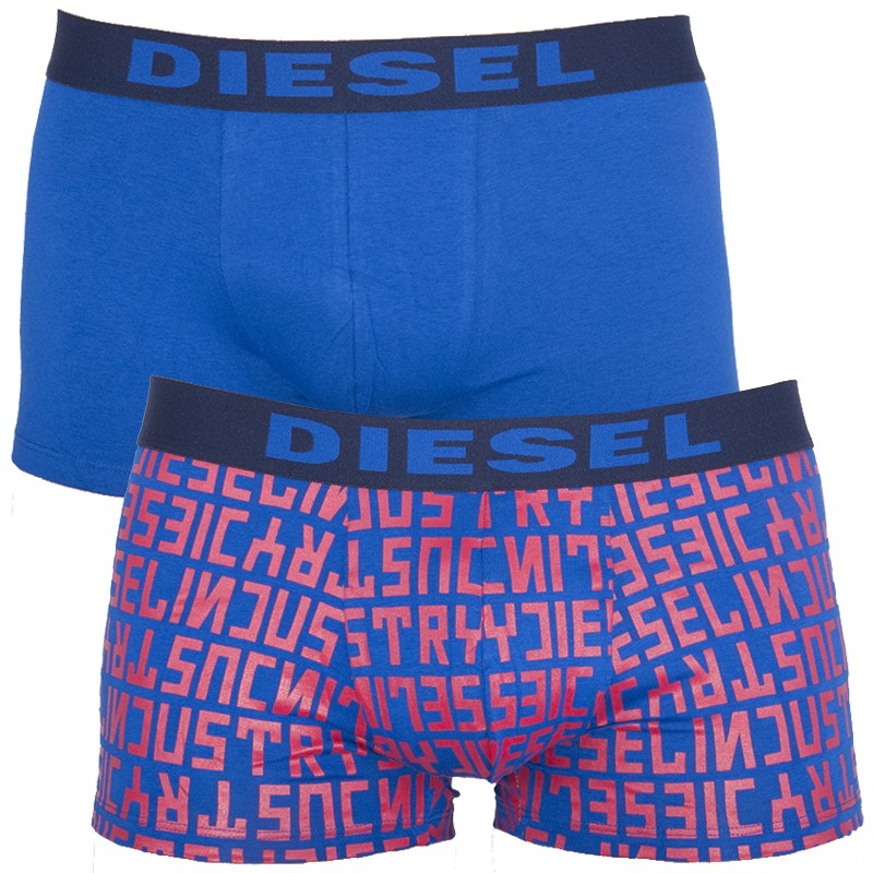 2PACK Pánské Boxerky Diesel Shawn Seasonal Edition Blue Red Words