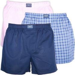 3PACK Pánské Trenýrky Polo Ralph Lauren Dark Blue Pink Blue