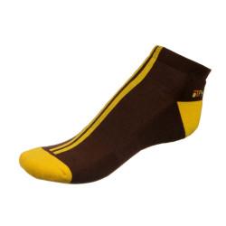 Dámské ponožky PHUSECKLE hnědé/žluté pruhy