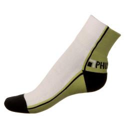 Unisex ponožky PHUSECKLE zeleno/bílé půlené
