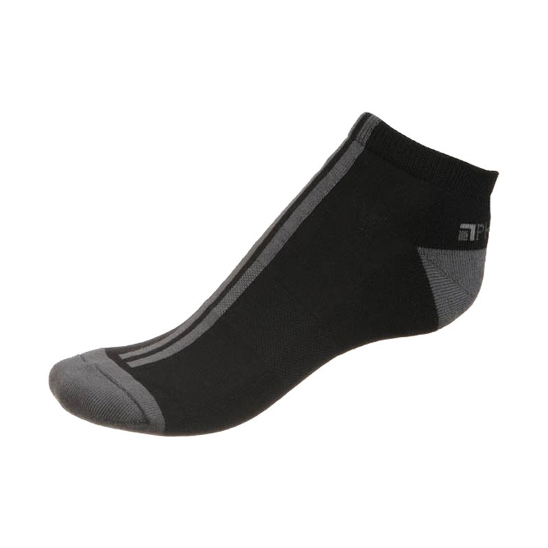 Unisex ponožky PHUSECKLE černé / šedé pruhy