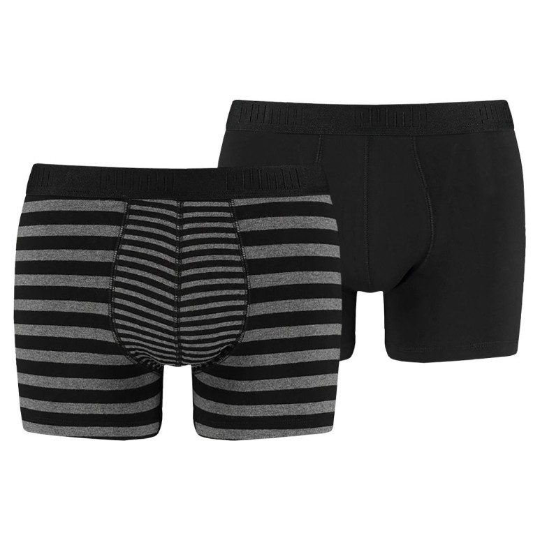 2PACK Pánské Boxerky Puma Striped Colour Block Black Grey Long XL