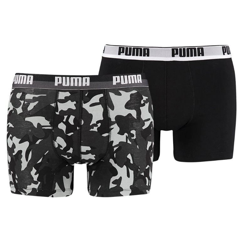 2PACK Pánské Boxerky Puma Camo Print Black White Long