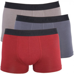 3PACK Pánské Boxerky S.Oliver Red Grey Khaki