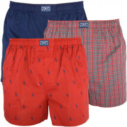 3PACK Pánské Trenýrky Polo Ralph Lauren Red Blue Logo