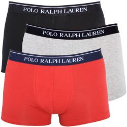 3PACK Pánské Boxerky Polo Ralph Lauren Black Red Grey