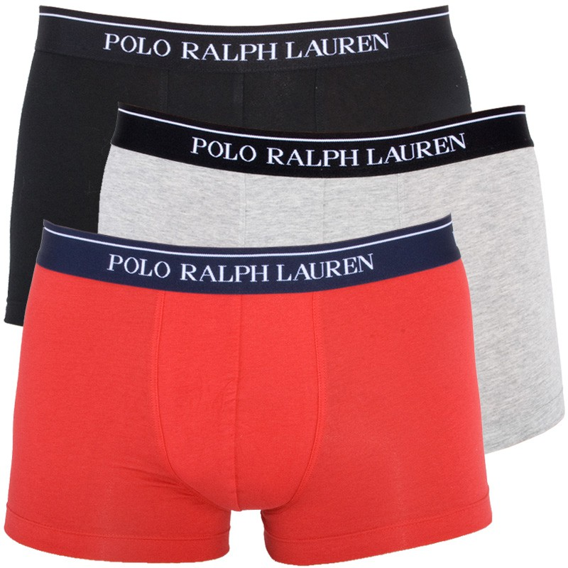 3PACK Pánské Boxerky Polo Ralph Lauren Black Red Grey