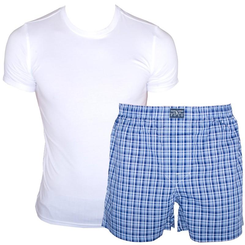 Pánské Pyžamo Polo Ralph Lauren White Blue Cube V Dárkovém Balení