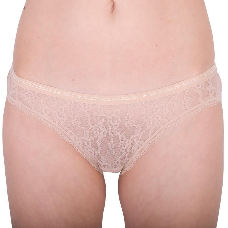 Dámské kalhotky Victoria's Secret lace bikini pant nude XS