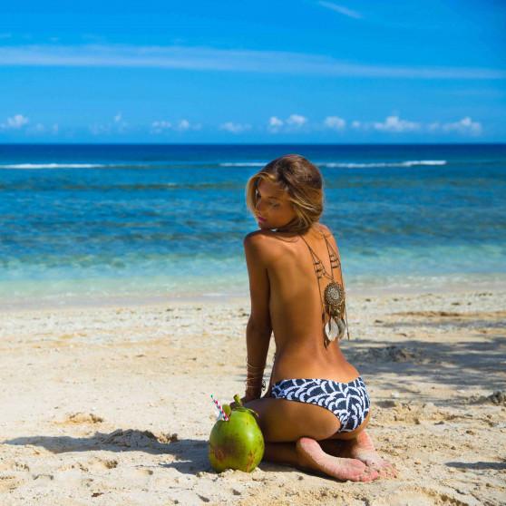 Dámské Plavky 69SLAM Kalhotky Plunge Bikini Wave Papercut