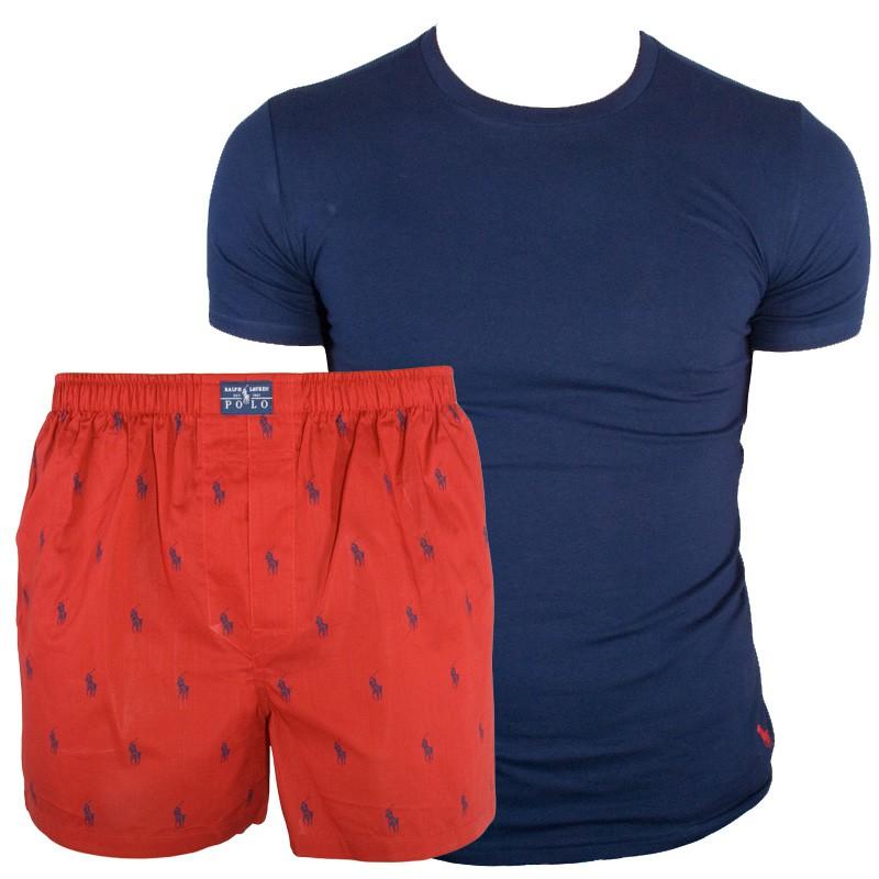 Pánské Pyžamo Polo Ralph Lauren Blue Red V Dárkovém Balení XL
