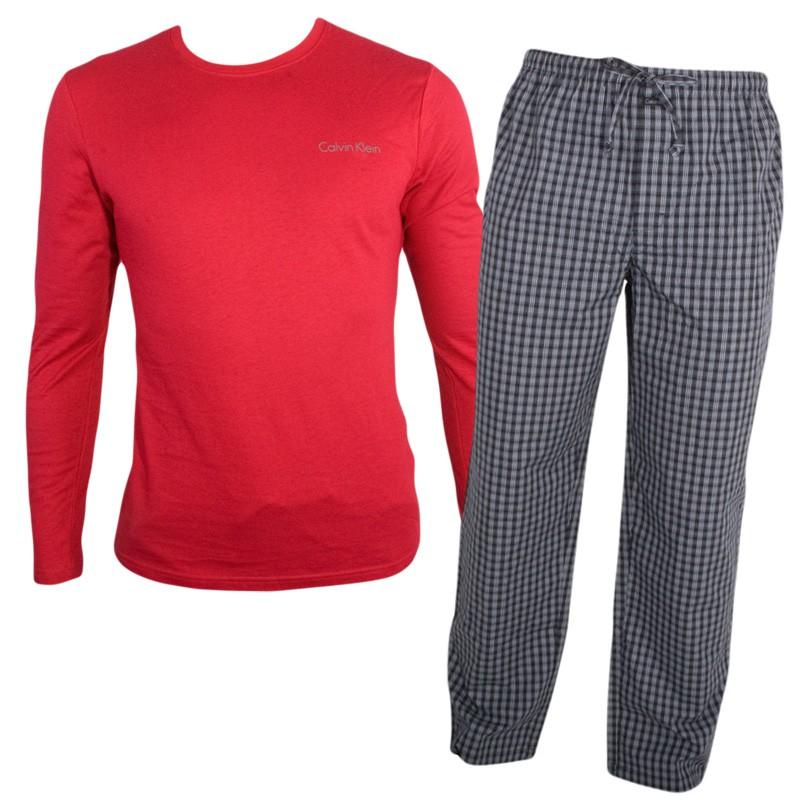 Pánské Pyžamo Calvin Klein Cotton Red Black V Dárkovém Balení L