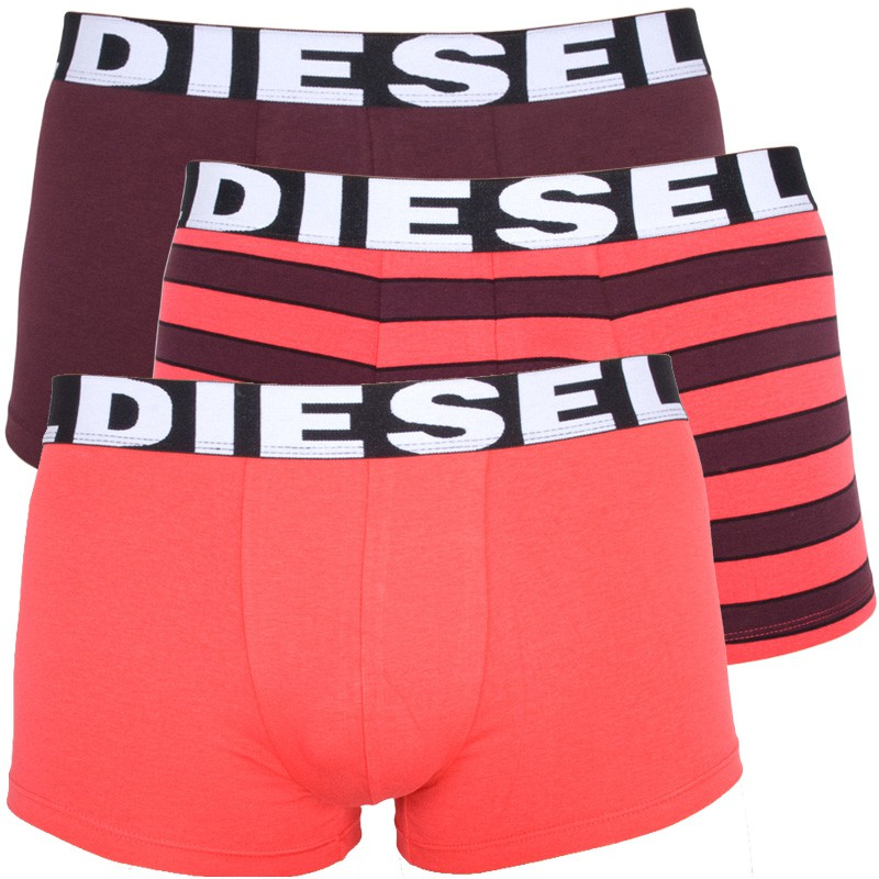 3PACK Pánské Boxerky Diesel Seasonal Edition Red Bordo Stripes XL