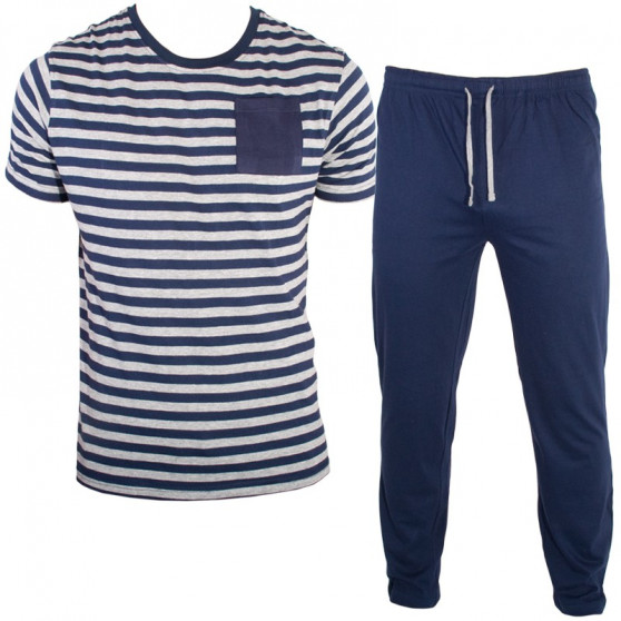 Pánské dlouhé pyžamo Molvy modro šedé proužky