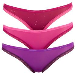 3PACK Dámské Kalhotky Calvin Klein Bikini Pink Lila Hearts