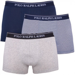 3PACK Pánské Boxerky Polo Ralph Lauren White Grey Blue Stripes
