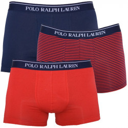 3PACK Pánské Boxerky Polo Ralph Lauren Red Blue Stripes