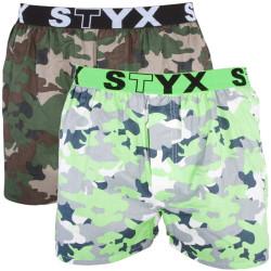 2PACK Pánské Trenýrky Styx Classic Army Edition