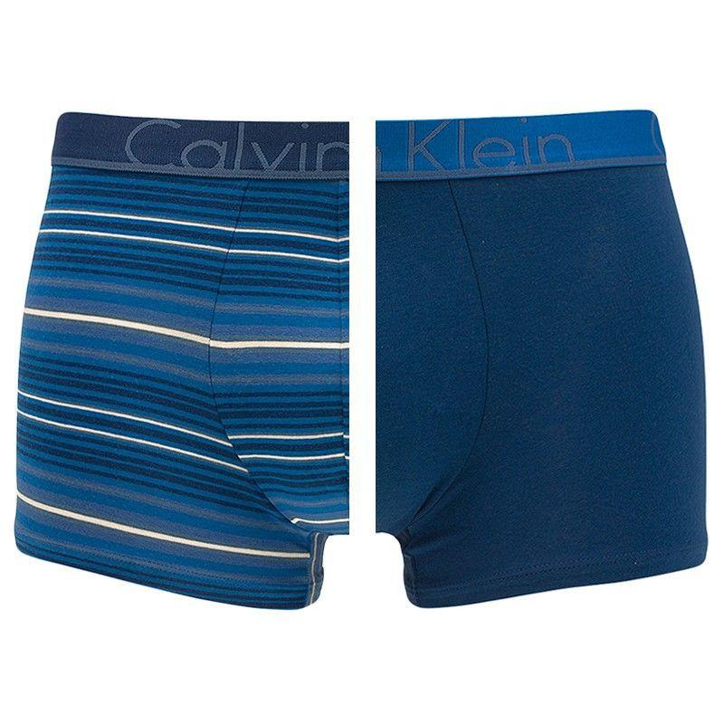 2PACK pánské boxerky Calvin Klein ID modré s pruhy