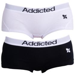 2PACK Dámské Kalhotky Addicted Černo Bílá