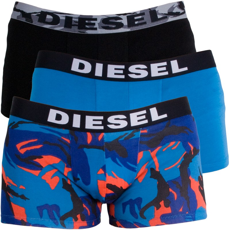 3PACK Pánské Boxerky Diesel Trunk Blue Black Army Multicolor S