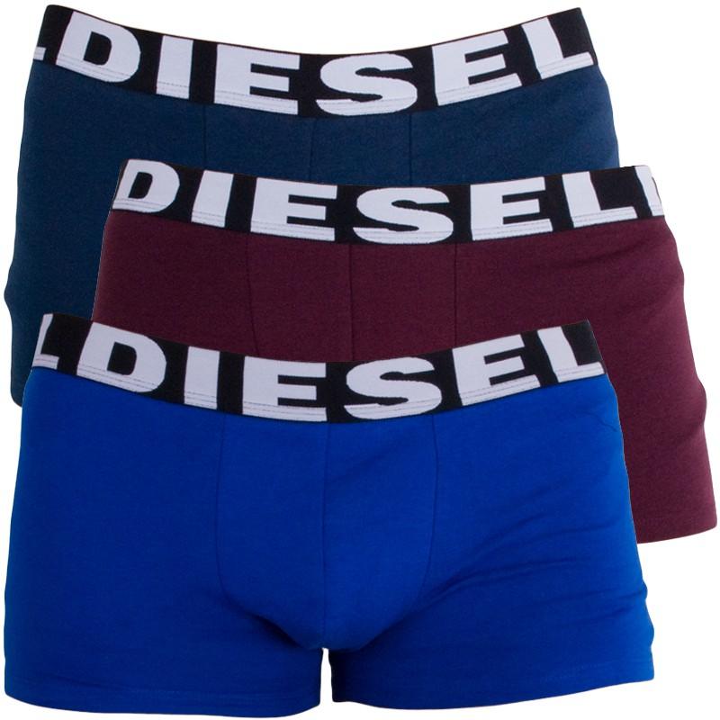 3PACK Pánské Boxerky Diesel Trunk Lila Blue Dark Blue S