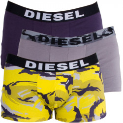3PACK Pánské Boxerky Diesel Trunk Grey Purple Yellow Army
