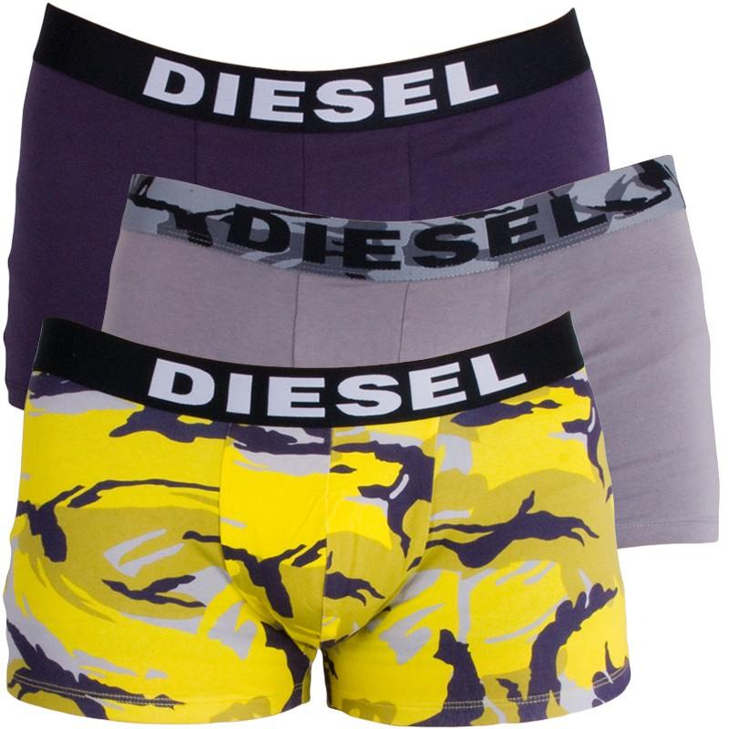 3PACK Pánské Boxerky Diesel Trunk Grey Purple Yellow Army M