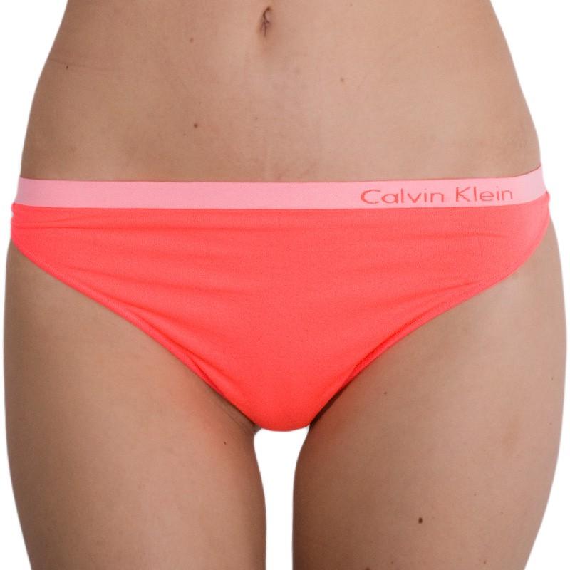 Dámská Tanga Calvin Klein Pure Seamless Thong Neon Pink XS