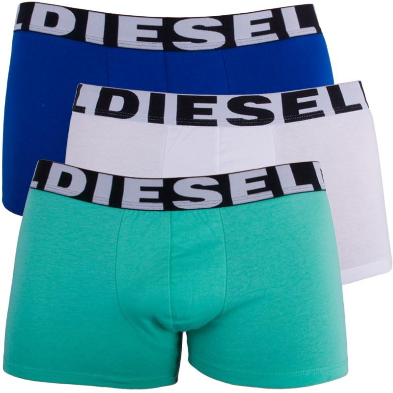 3PACK Pánské Boxerky Diesel Trunk Green White Blue S