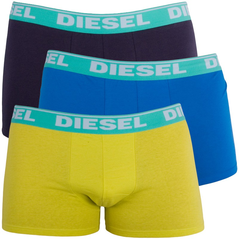 3PACK Pánské Boxerky Diesel Trunk Fresh&Bright Yellow Purple Blue S