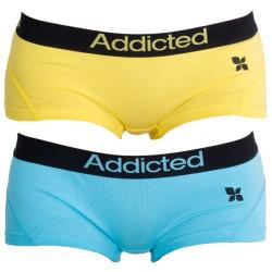 2PACK dámské kalhotky Addicted modrá žlutá